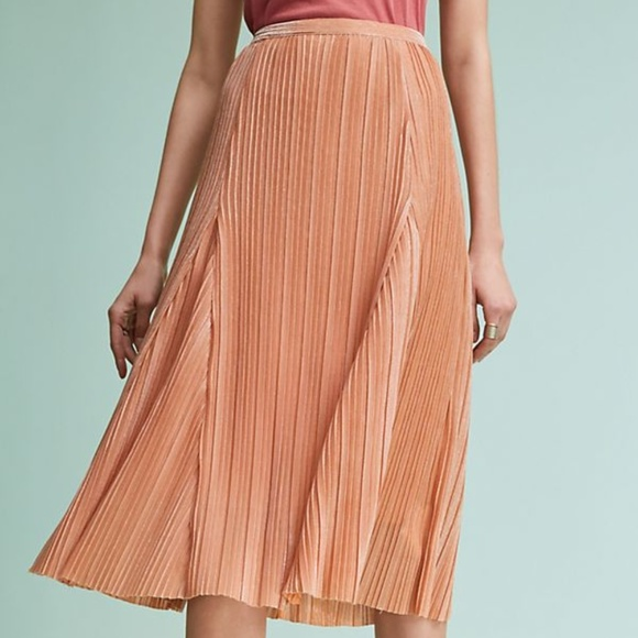 Anthropologie Dresses & Skirts - Anthropologie Maeve Pleated Metallic Rose Gold